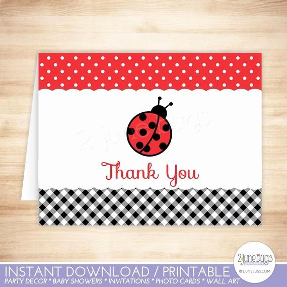 Folded Thank You Card Template New Ladybug Thank You Card Ladybug Folded Thank You Card