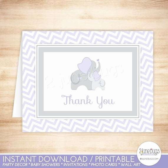 Folded Thank You Card Template New Purple Elephant Thank You Card Folded Note Card Template