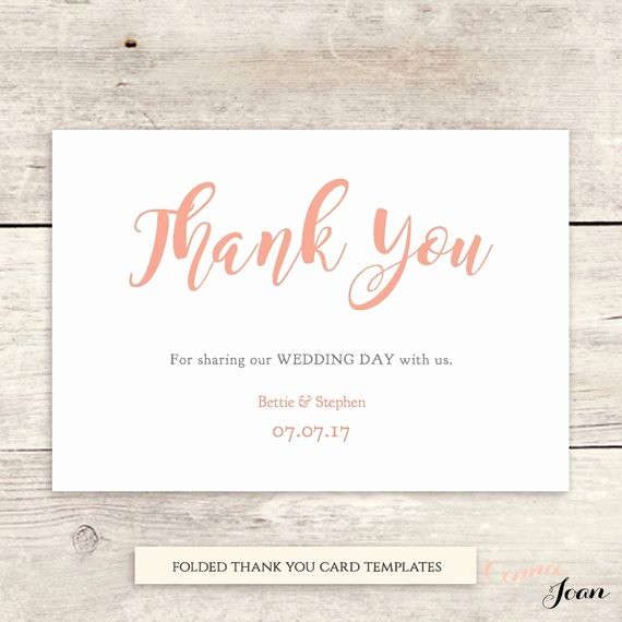 Folded Thank You Card Template New Thank You Card Folded Printable Thank You Card by