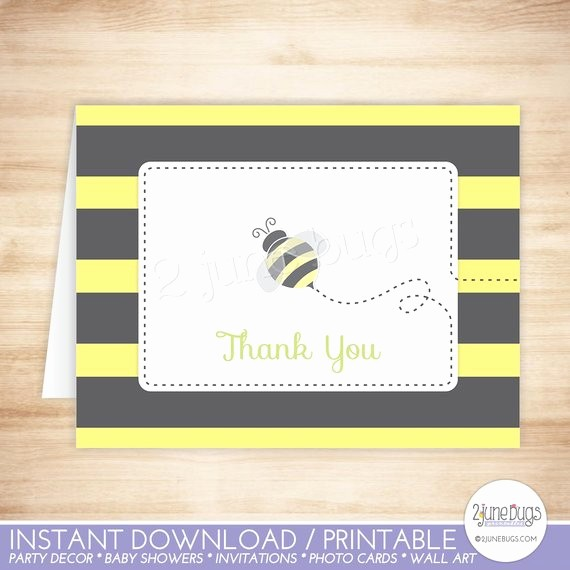 Folded Thank You Card Template Unique Bee Thank You Card Template Bumble Bee Folded Thank You