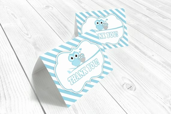 Folded Thank You Card Template Unique Blue Owl Thank You Cards Folded Card Template Owl Baby