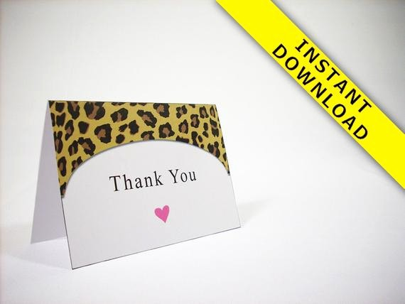 Folded Thank You Card Template Unique Cheetah Thank You Card Template Instant Download Fold