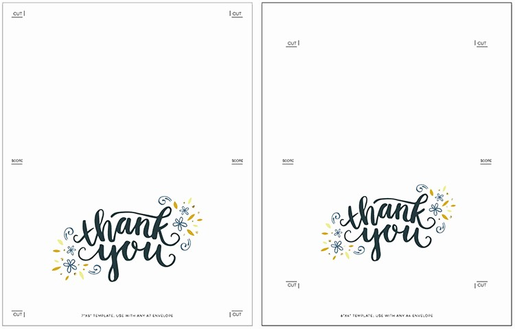 Folded Thank You Card Template Unique Freebie Printable Thank You Card