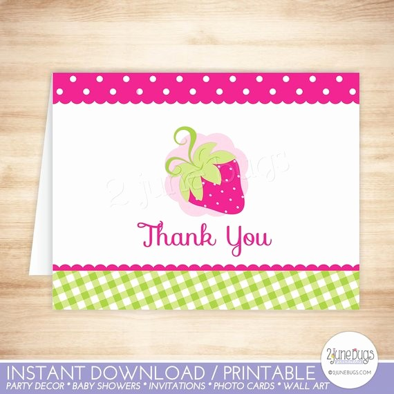Folded Thank You Card Template Unique Pink Strawberry Thank You Card Strawberry Folded Thank