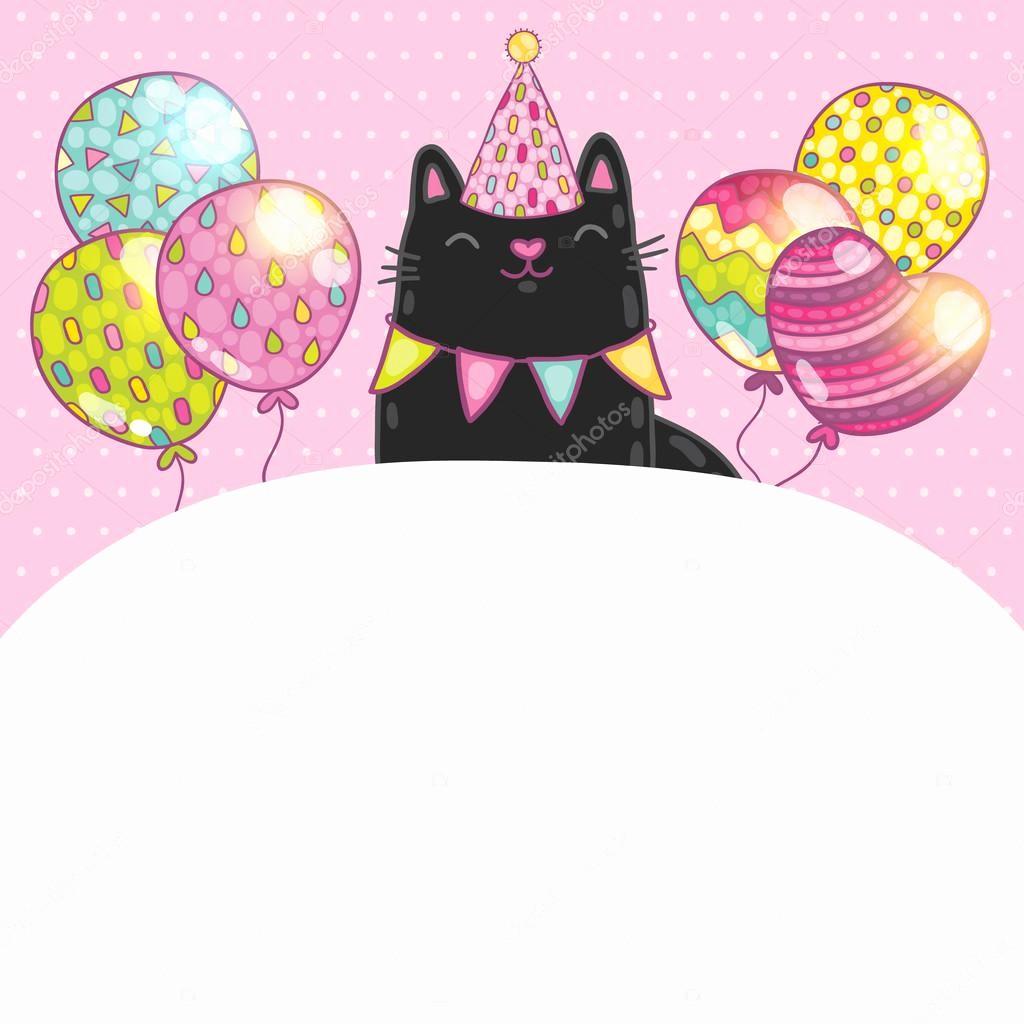 Fondos Para Tarjetas De Cumpleaños Inspirational Fondo De Tarjeta De Feliz Cumpleaños Con Un Gato — Vector
