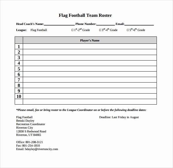 Football Team Sheet Template Download Best Of 10 Football Roster Templates