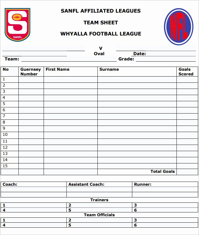 Football Team Sheet Template Download Best Of Football Team Sheet Template 4 Pdf