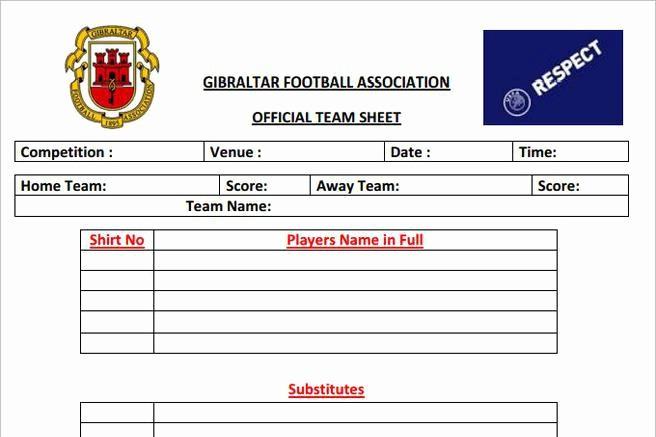 Football Team Sheet Template Download Inspirational 4 Sample Football Team Sheet Templates Free Download