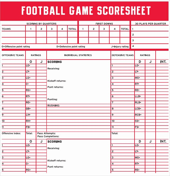 Football Team Sheet Template Download Luxury 13 Sample Football Score Sheet Templates