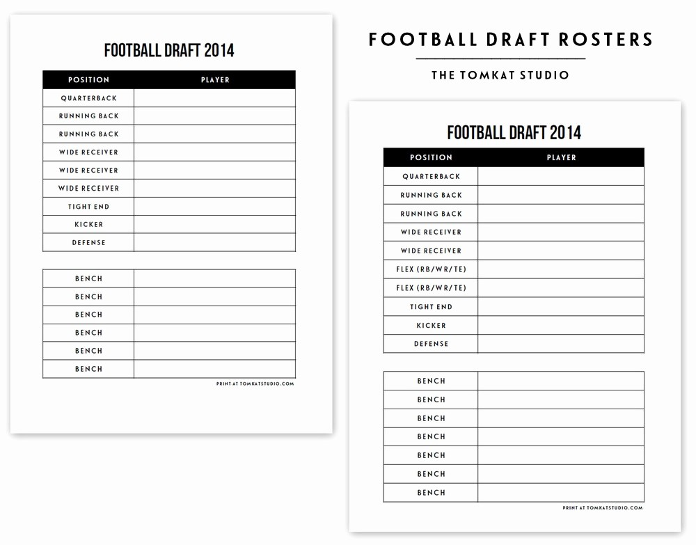 Football Team Sheet Template Download New Free Printable Football Roster…