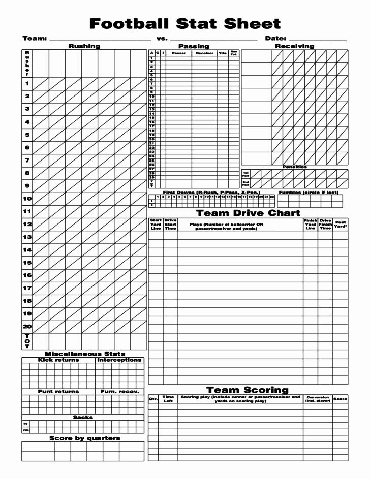 Football Team Sheet Template Download Unique Football Stat Sheet Free Download