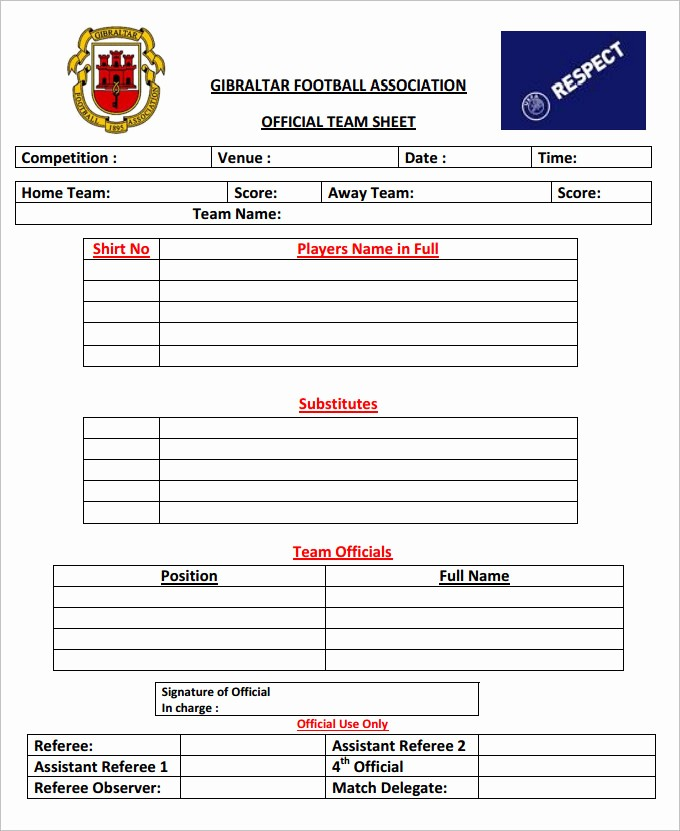 Football Team Sheet Template Download Unique Football Team Sheet Template 4 Pdf