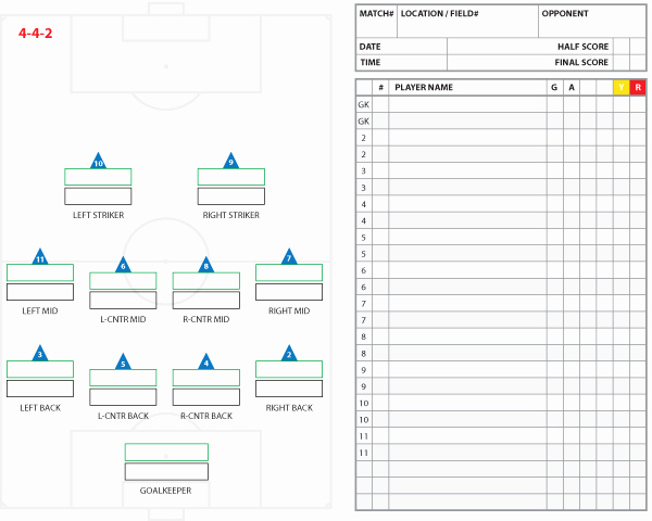 Football Team Sheet Template Download Unique soccer formations and Systems as Lineup Sheet Templates