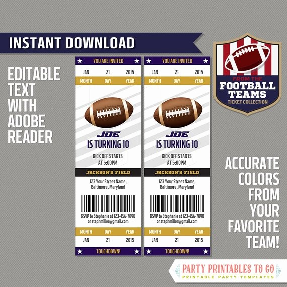 Football Ticket Template Free Download Awesome Football Ticket Invitation Template Purple and Gold