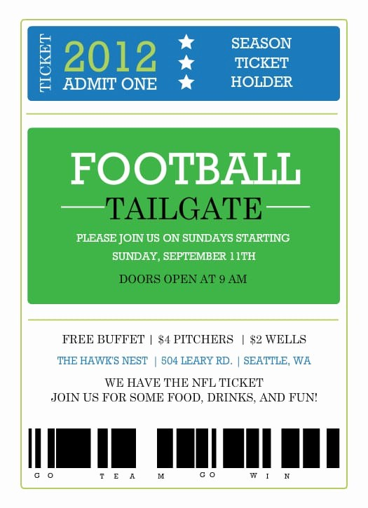 Football Ticket Template Free Download Awesome Printable Ticket Invitation Template