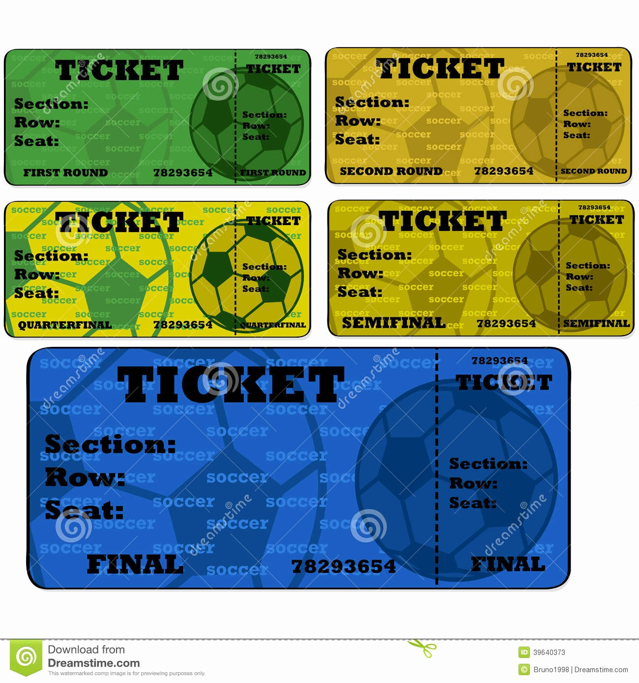 Football Ticket Template Free Download Awesome soccer Tickets Stock Vector Image