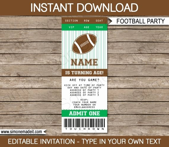 Football Ticket Template Free Download Beautiful Football Ticket Invitation Template Birthday Party