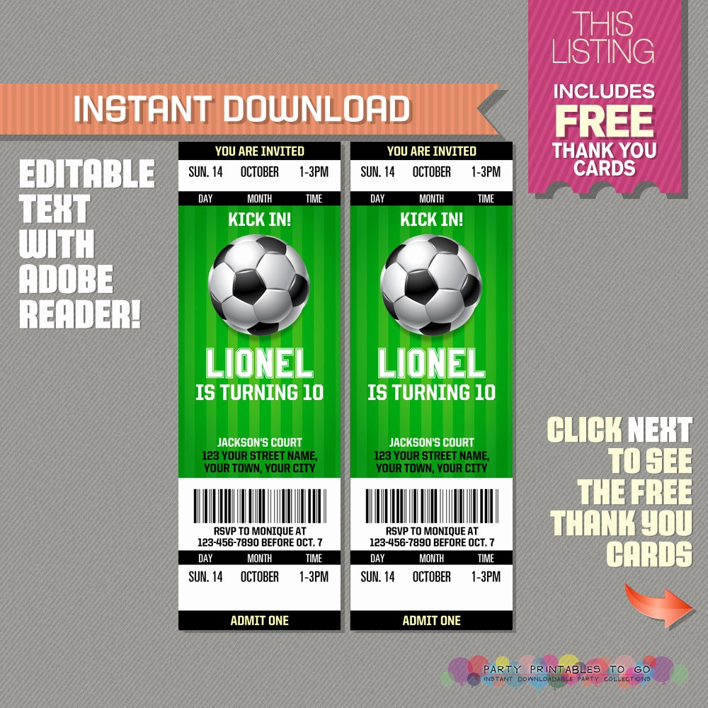 Football Ticket Template Free Download Beautiful soccer Ticket Invitation with Free Thank You Card soccer