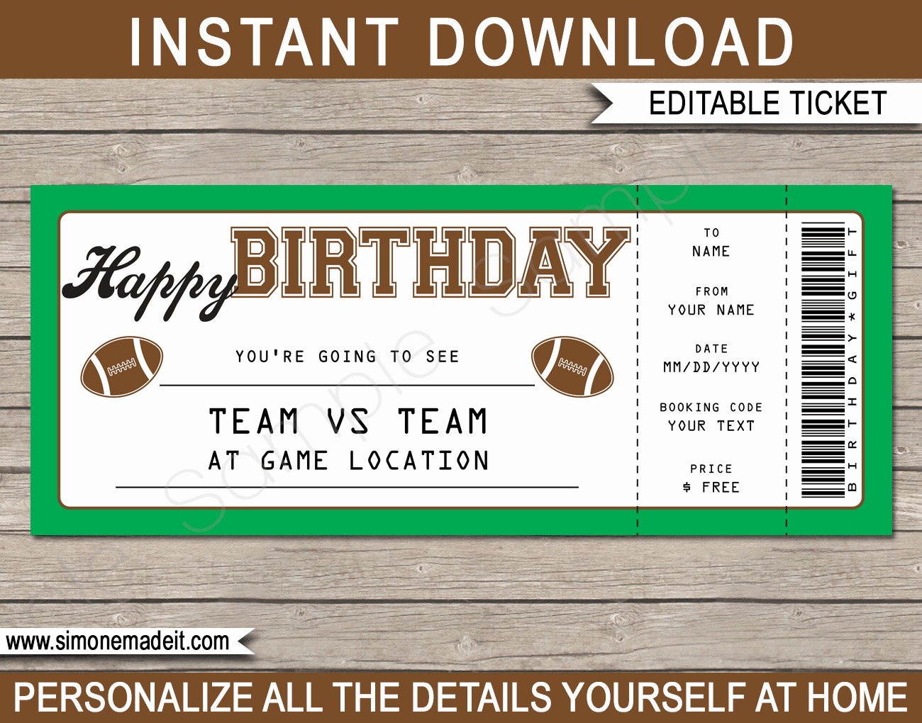 Football Ticket Template Free Download Best Of Football Game Birthday Gift Ticket