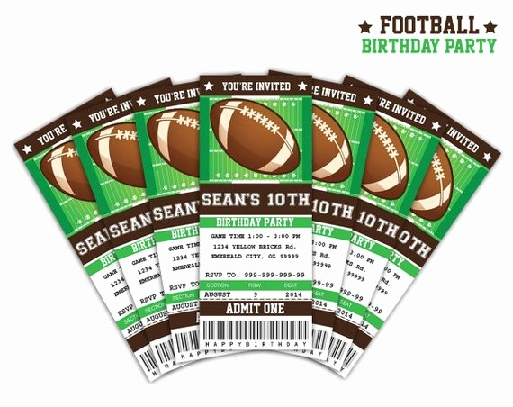 Football Ticket Template Free Download Best Of Football Ticket Invitation Printable Instant by Sqweezdesign