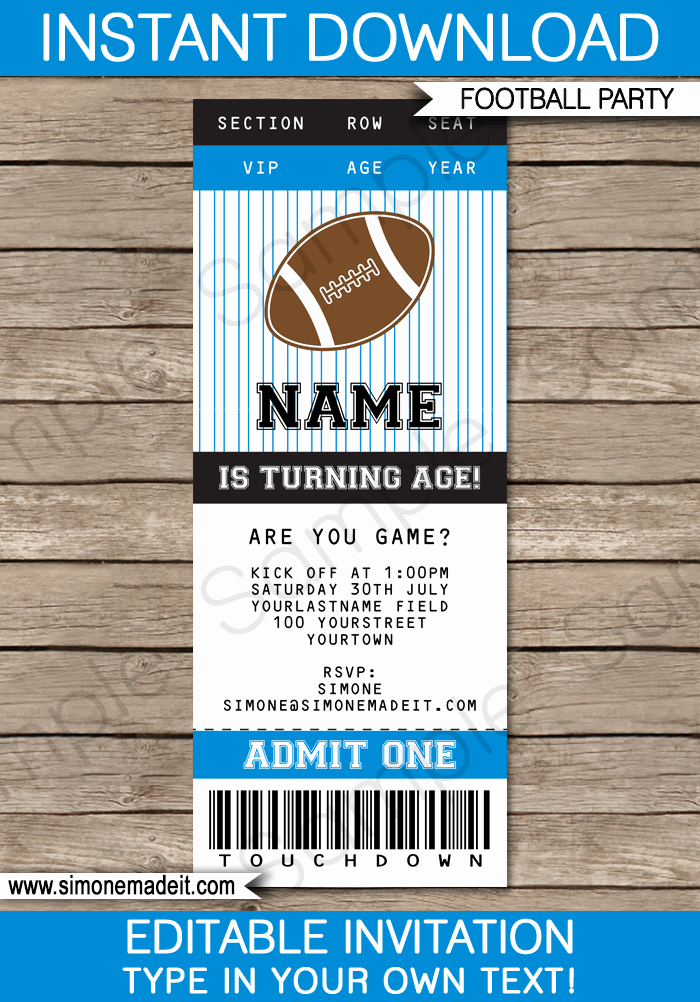 Football Ticket Template Free Download Elegant Black and Blue Football Printables Invitations & Decorations