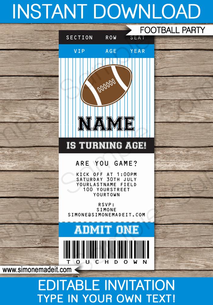 Football Ticket Template Free Download Elegant Black and Blue Football Printables Invitations & Decorations