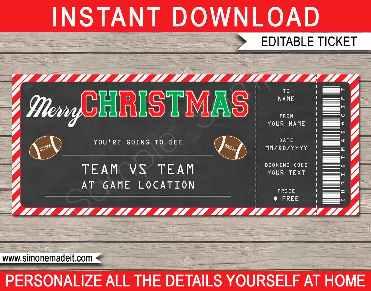 Football Ticket Template Free Download Elegant Christmas Gift Football Ticket Template