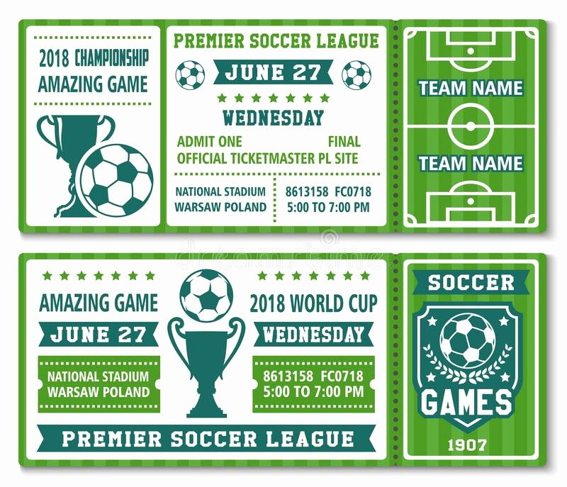 Football Ticket Template Free Download Lovely Vector Tickets Template soccer Football Cup 2018 Stock