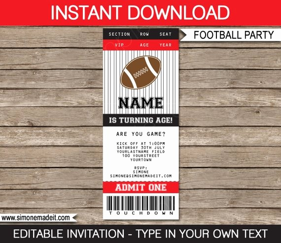 Football Ticket Template Free Download Luxury Football Ticket Invitation Template Birthday Party Red