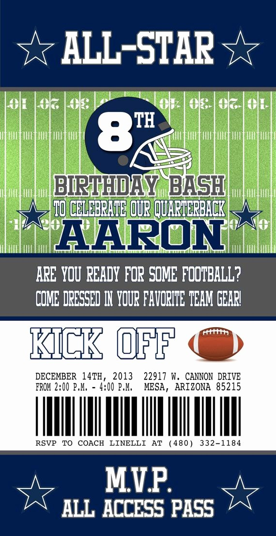 Football Ticket Template Free Download Luxury Free Printable Dallas Cowboys Birthday Invitations Jin's