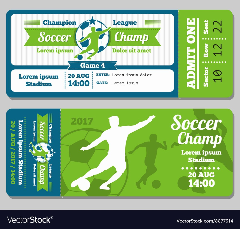 Football Ticket Template Free Download New Football soccer Ticket Template Royalty Free Vector Image