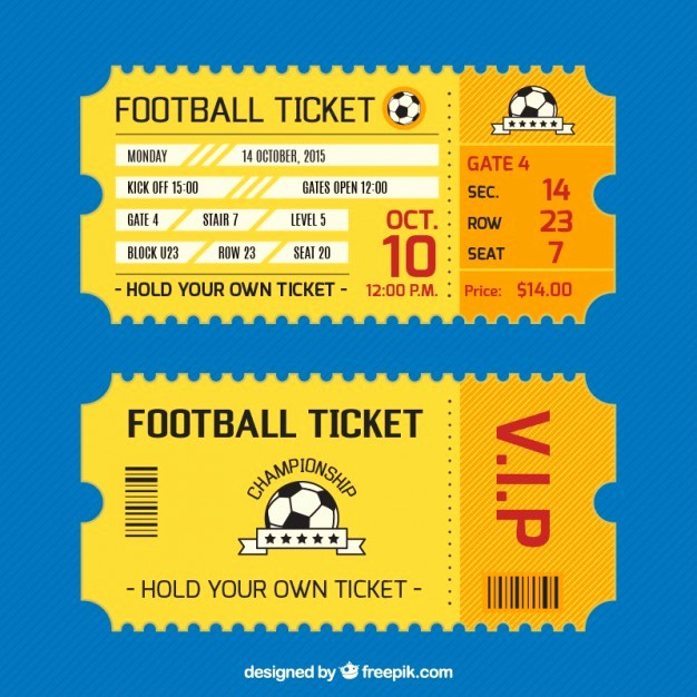 Football Ticket Template Free Download New Football Ticket Card Vector