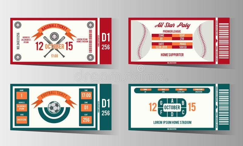 Football Ticket Template Free Download Unique Football soccer and Baseball Ticket Vector Design Stock