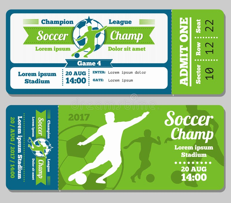 Football Ticket Template Free Download Unique Football soccer Vector Ticket Template Stock Vector