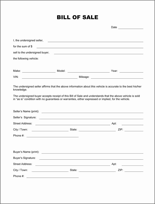 For Sale as is form Inspirational Free Printable Bill Sale form form Generic