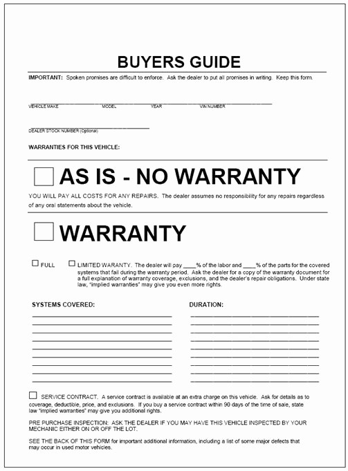 For Sale as is form New This form by Law is to Be Displayed On Any Vehicle that