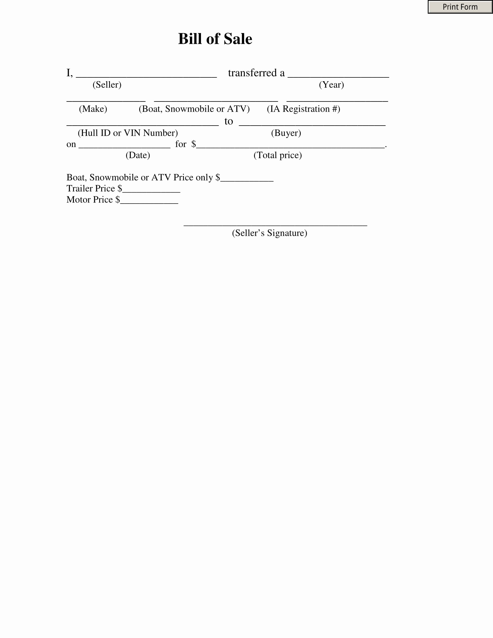 Form for Bill Of Sale Awesome Bill atv Bill Sale form