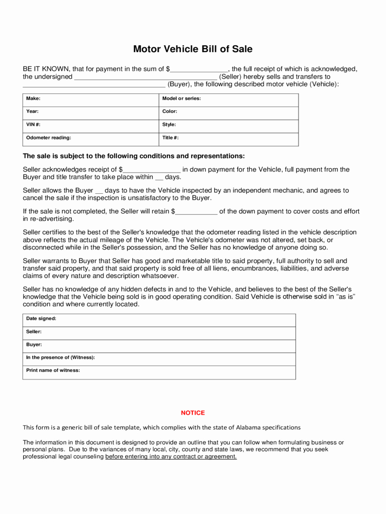 Form for Bill Of Sale Awesome Bill Of Sale form 183 Free Templates In Pdf Word Excel