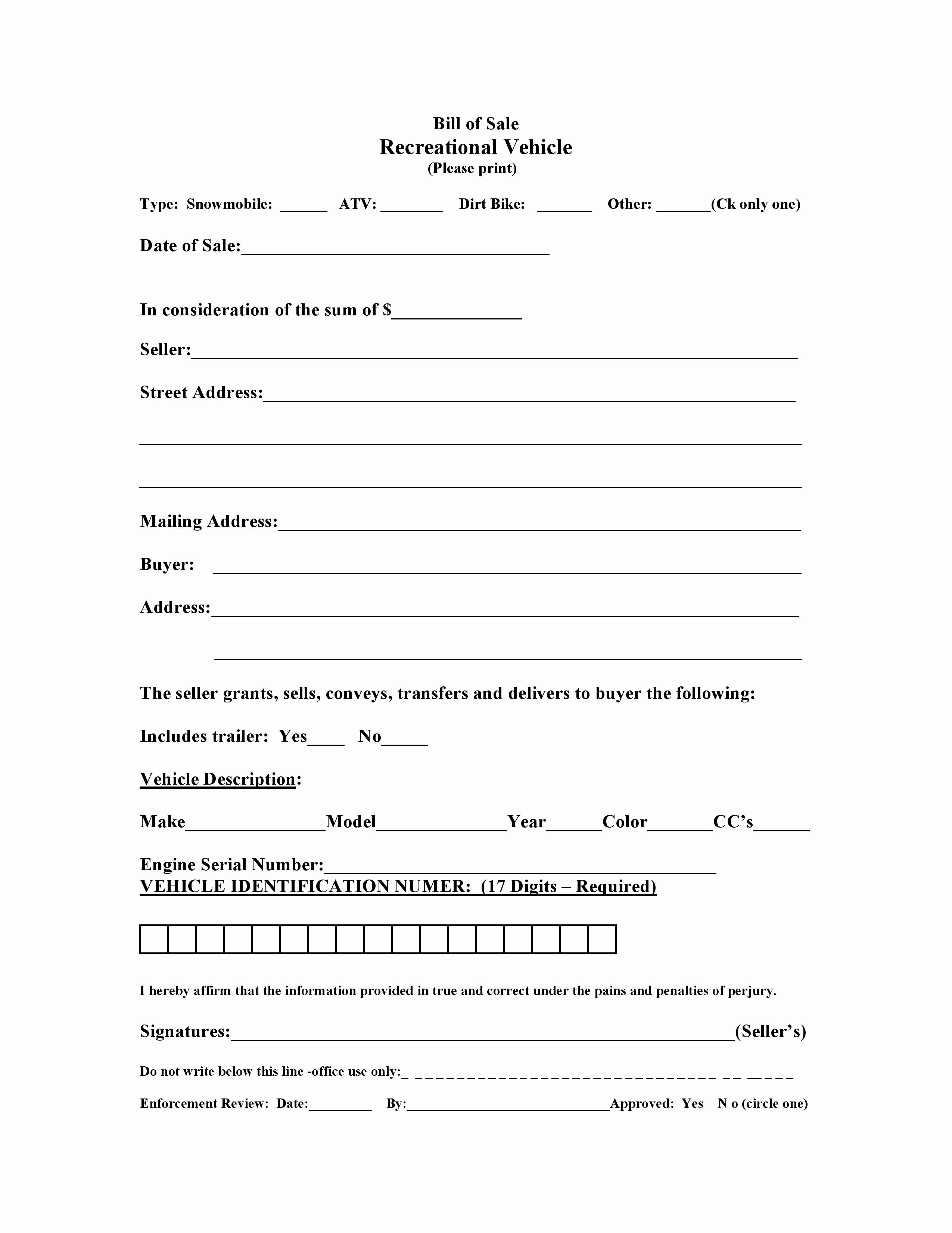 Form for Bill Of Sale Awesome Free Massachusetts Recreational Vessel Vehicle Bill Of