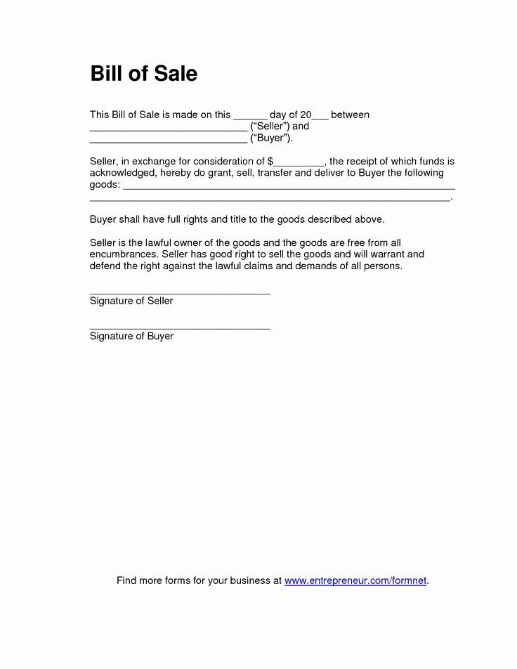 Form for Bill Of Sale Beautiful Bill Sale form
