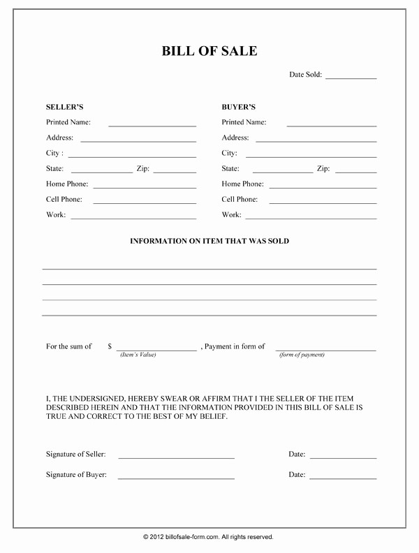 Form for Bill Of Sale Best Of Free Printable Bill Sale form form Generic