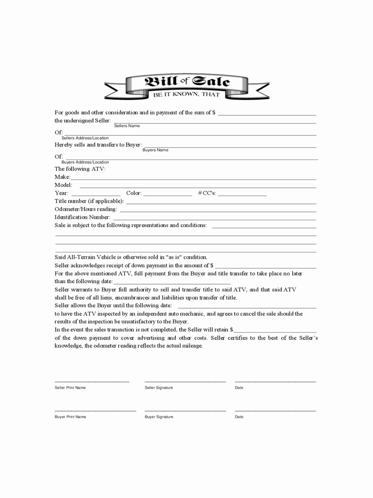 Form for Bill Of Sale Fresh atv Bill Of Sale form 9 Free Templates In Pdf Word