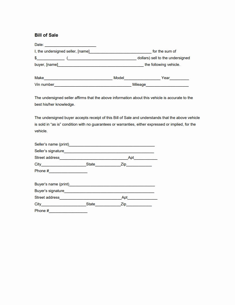 Form for Bill Of Sale Fresh Vehicle Bill Of Sale form Free Download Edit Fill