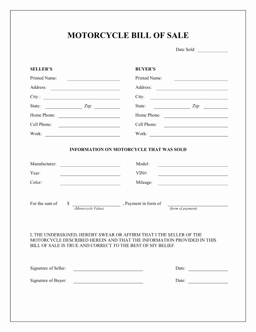 Form for Bill Of Sale Lovely Free Printable Motorcycle Bill Of Sale form Template