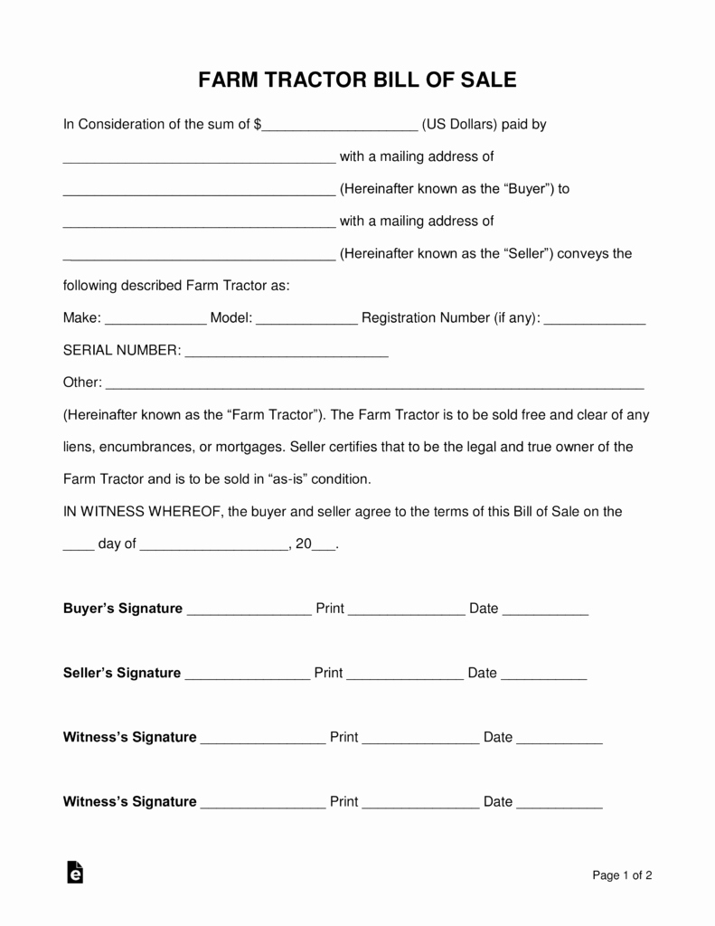 Form for Bill Of Sale Luxury Free Farm Tractor Bill Of Sale form Pdf Word