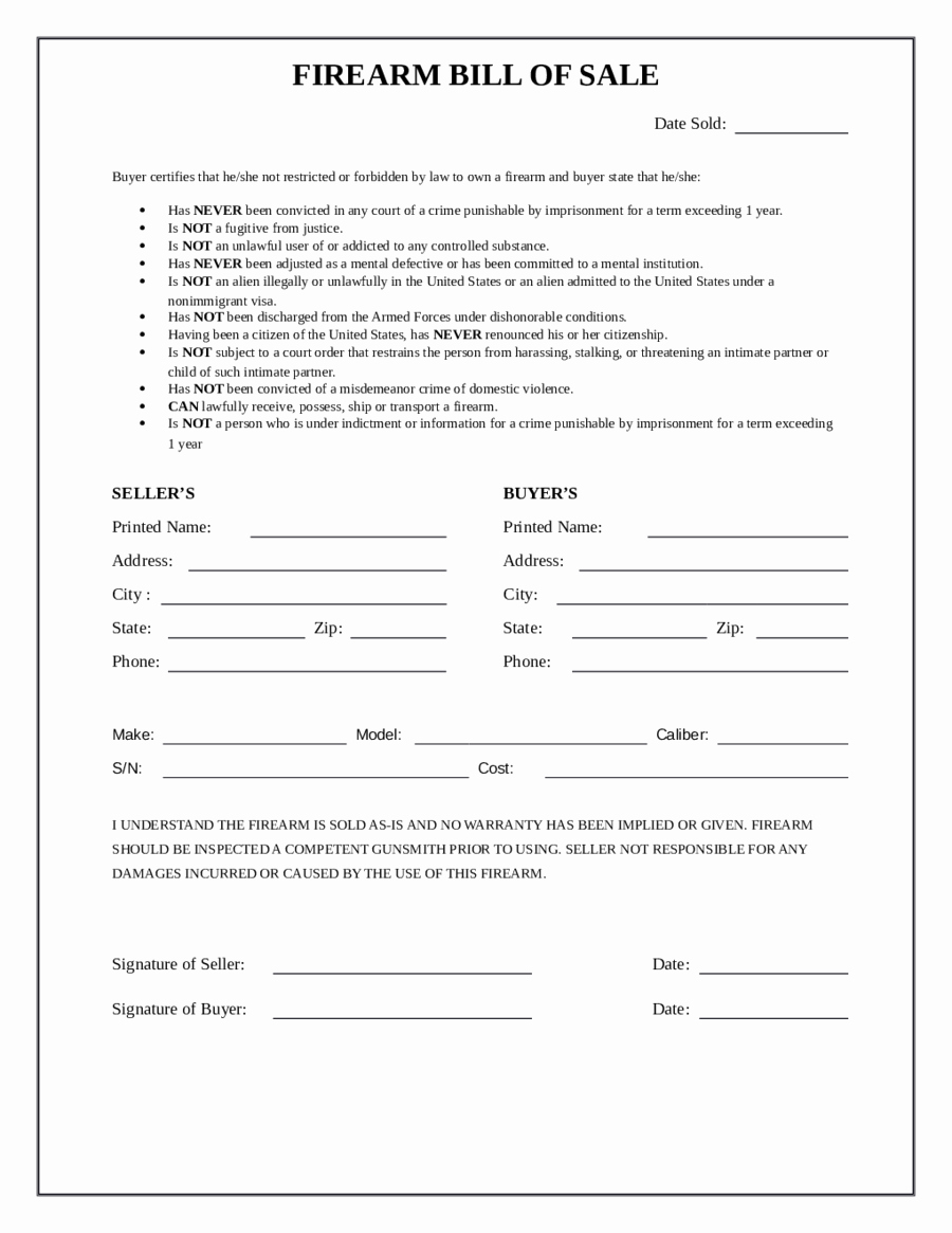 Form for Bill Of Sale New 2019 Firearm Bill Of Sale form Fillable Printable Pdf