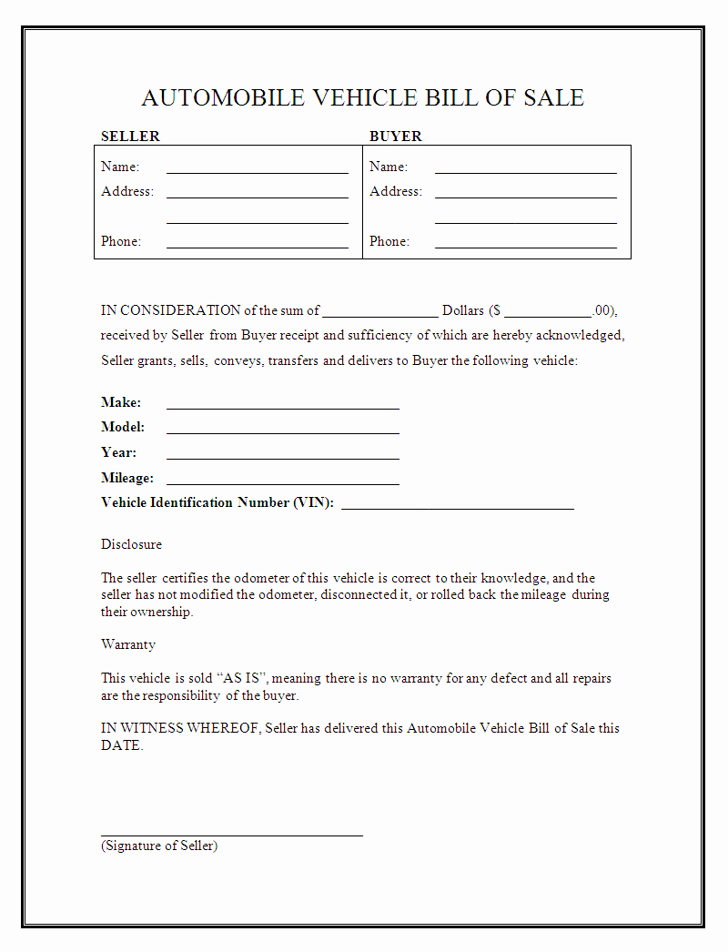 Form for Bill Of Sale New Free Printable Car Bill Of Sale form Generic