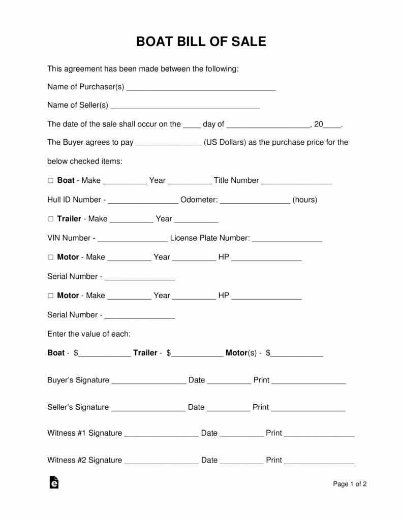 Form for Bill Of Sale Unique Free Boat Vessel Bill Of Sale form Word Pdf