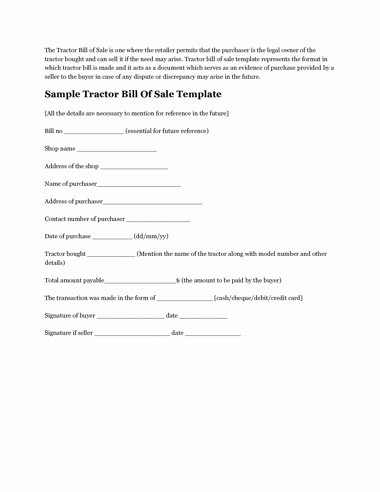 Form for Bill Of Sale Unique Free Printable Tractor Bill Of Sale form Generic