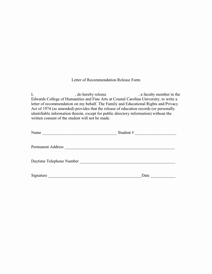 Form for Letter Of Recommendation Beautiful Letter Of Re Mendation Release form In Word and Pdf formats
